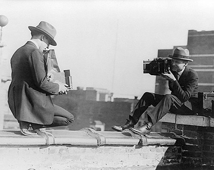 Photographers w/ Antique Graflex Cameras Photo Print