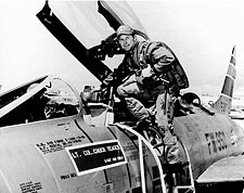 Pilot Chuck Yeager & F-100 Super Sabre Photo Print for Sale