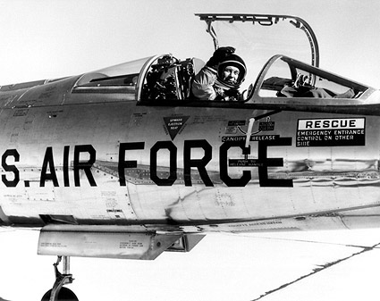 Pilot Chuck Yeager in F-104 Cockpit Photo Print