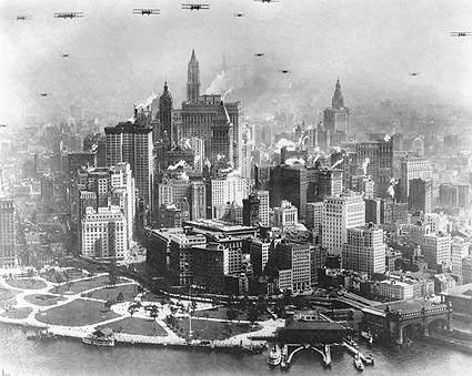 Planes Over Manhattan, NYC Early Aviation Photo Print