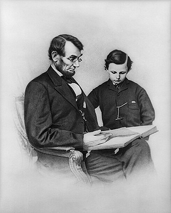 President Abraham Lincoln Seated w/ Son Photo Print