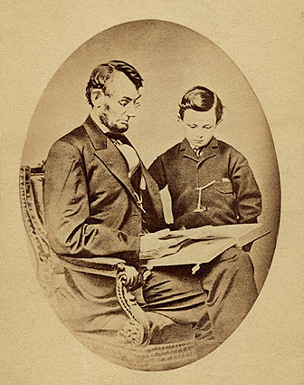 President Abraham Lincoln with Son Tad Lincoln Photo Print