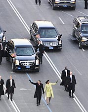 President and Michelle Obama Waving at Inaugural Parade Photo Print for Sale