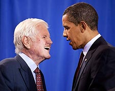 President Barack Obama and Senator Ted Kennedy 2009 Photo Print for Sale