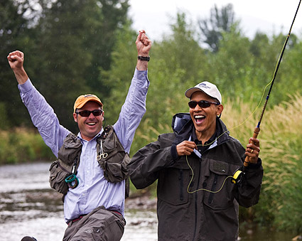 President Barack Obama Fly Fishing with Guide in Montana Photo Print