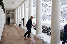 President Barack Obama White House Snowball Fight Photo Print for Sale