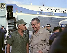 President Lyndon Johnson Arrives in Vietnam Photo Print for Sale
