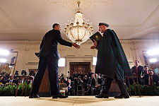 President Obama & Afghan President Karzai Press Conference Photo Print for Sale