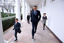 President Obama and Children on White House Colonnade Photo Print for Sale