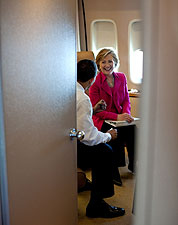 President Obama and Hillary Clinton on Air Force One Photo Print for Sale