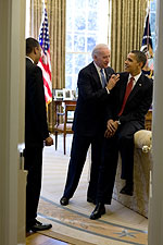 President Obama and Joe Biden in Oval Office Photo Print for Sale