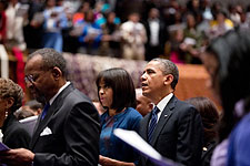 President Obama and Michelle Obama at Church Service  Photo Print for Sale