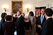 President Obama and Michelle Obama at Inaugural Tea Photo Print for Sale