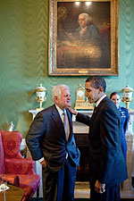 President Obama and Senator Ted Kennedy at White House Photo Print for Sale