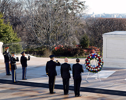President Obama and VP Joe Biden Tomb of the Unknowns Photo Print