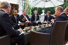 President Obama at Breakfast Meeting with Putin in Russia Photo Print for Sale