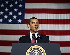 President Obama Gives Speech at Camp Lejeune Photo Print for Sale