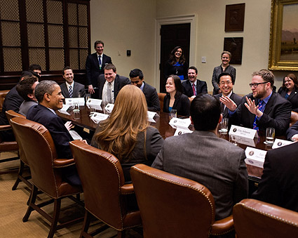 President Obama Meets With Presidential Innovation Fellows Photo Print