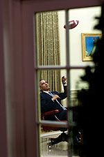 President Obama Throws Football in Oval Office Photo Print for Sale