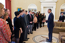 President Obama with Inaugural National Citizen Co-Chairs Photo Print for Sale