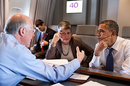 President Obama with Janet Napolitano on Air Force One Photo Print