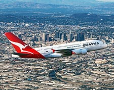 Qantas Airlines Airbus A380-800 Over Los Angeles Photo Print for Sale