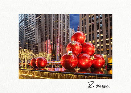 Radio City Music Hall Christmas Balls Personalized NYC Christmas Cards