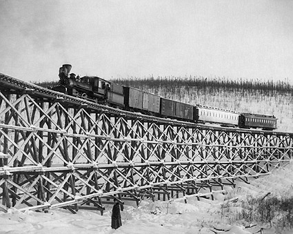 Railroad Train on Fox Gulch Bridge Alaska Photo Print