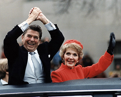 Reagans Wave from Limo on Inauguration Day 1981 Photo Print