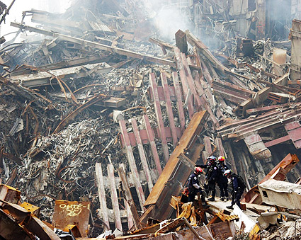Rescue Workers Among Rubble at Ground Zero 9/11  Photo Print