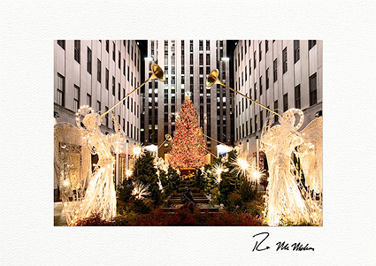 Rockefeller Center Angels and Christmas Tree Individual Holiday Cards