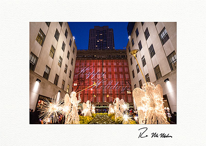 Rockefeller Center Happy Holidays Angels Personalized Christmas Cards