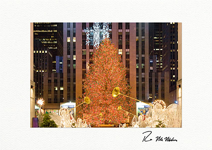 Rockefeller Center Tree Holiday Lights Individual Christmas Cards