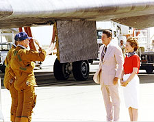 Ronald Reagan Saluted by Shuttle Crew Photo Print for Sale