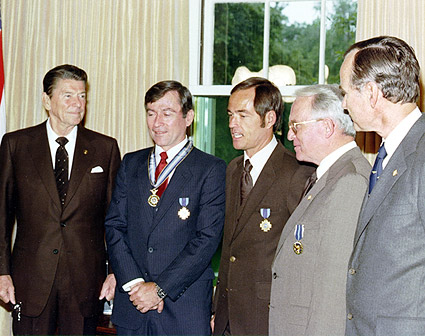 Ronald Reagan w/ STS-1 Young & Crippen Photo Print
