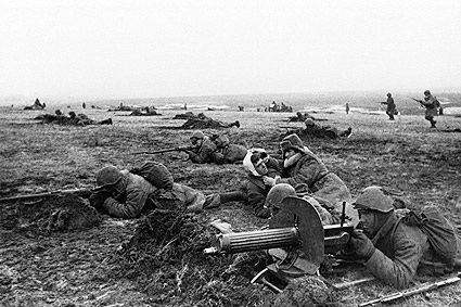 Russian Troops with Injured Soldiers WWII Photo Print