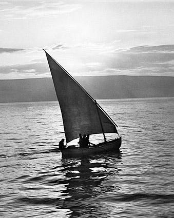 Sailboat Sail Boat Sailing at Sunrise 1930s Photo Print