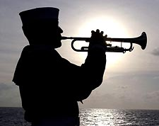 Sailor Plays Taps on Trumpet Navy Photo Print for Sale