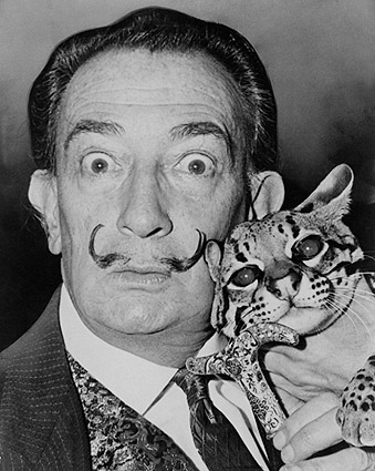 Salvador Dali with Ocelot 1965 Portrait Photo Print