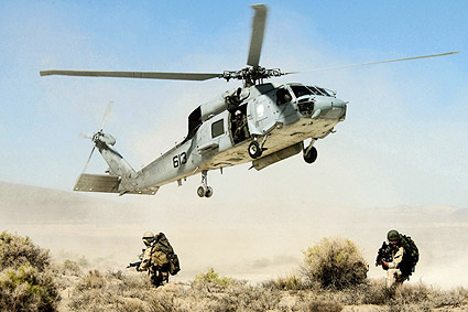 SH-60 Seahawk Helicopter Drops Navy Seals Photo Print