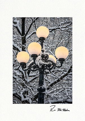 Snow Covered Lombard Lamp, Central Park Personalized Christmas Cards