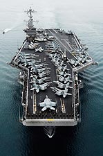 Soldiers Man Rails on Flight Deck of USS John C. Stennis Photo Print for Sale