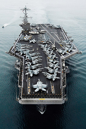 Soldiers Man Rails on Flight Deck of USS John C. Stennis Photo Print