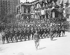 Soldiers Pass Patriotic NYC City Hall 1908 Photo Print for Sale