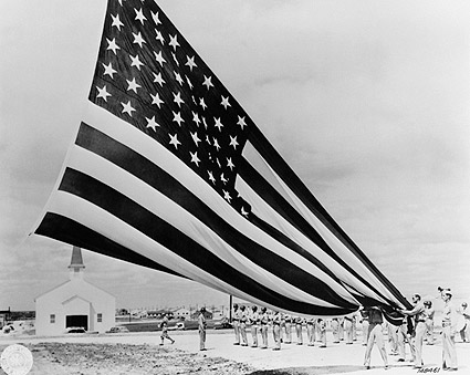 Soldiers Unfold 48 Star American Flag Photo Print