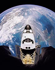 Space Shuttle Atlantis Fish-Eye Orbit 1995 Photo Print for Sale