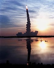 STS-96 Space Shuttle Launch w/ Reflection Photo Print for Sale