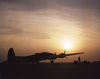 Sunset Silhouette of B-17 Flying Fortress Photo Print