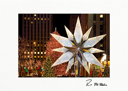 Swarovsky Crystal Star at Rockefeller Center Christmas Individual Holiday Cards