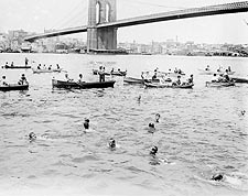 Swimming Race Past Brooklyn Bridge New York Photo Print for Sale